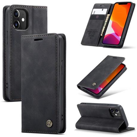 Caseme Iphone 12 Mini Retro Flip Leather Wallet Case Black