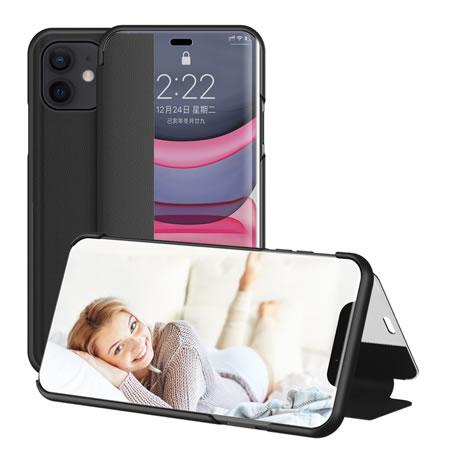 Iphone 12 View Window Flip Leather Case Black