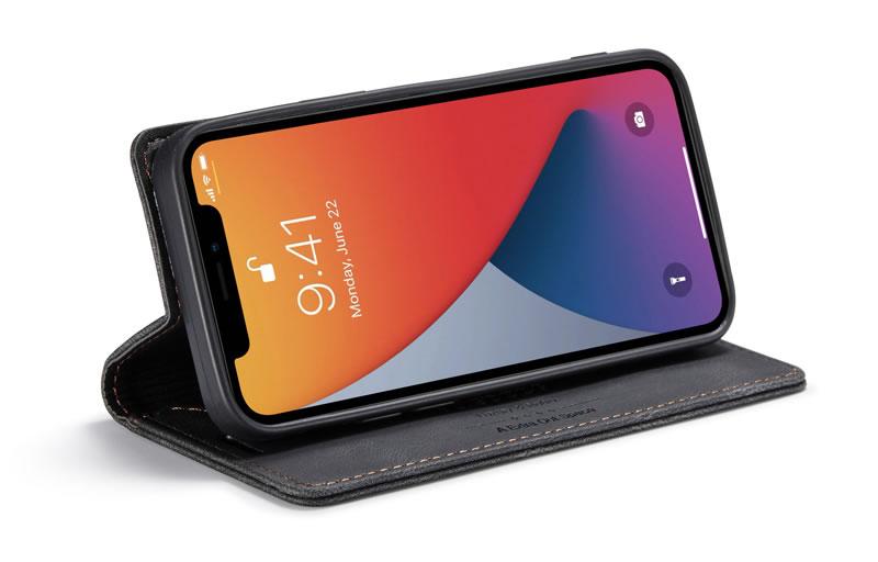 AutSpace iPhone 12 Leather Wallet Case