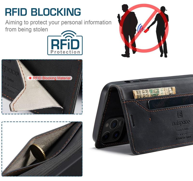 AutSpace iPhone 12 Pro Leather Wallet Case