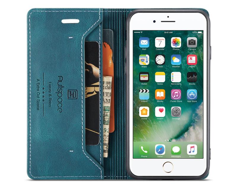 AutSpace iPhone 8 Plus Leather Wallet Case