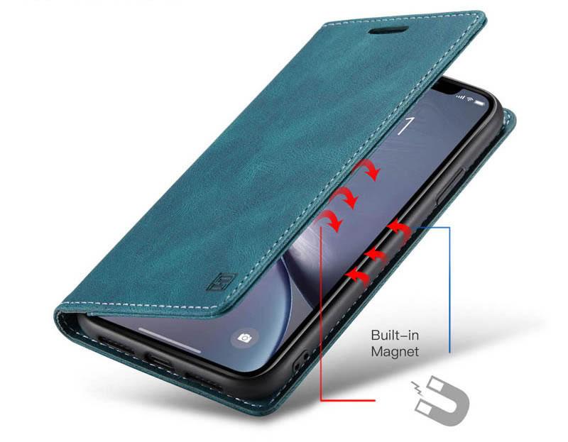 AutSpace iPhone XR Leather Wallet Case