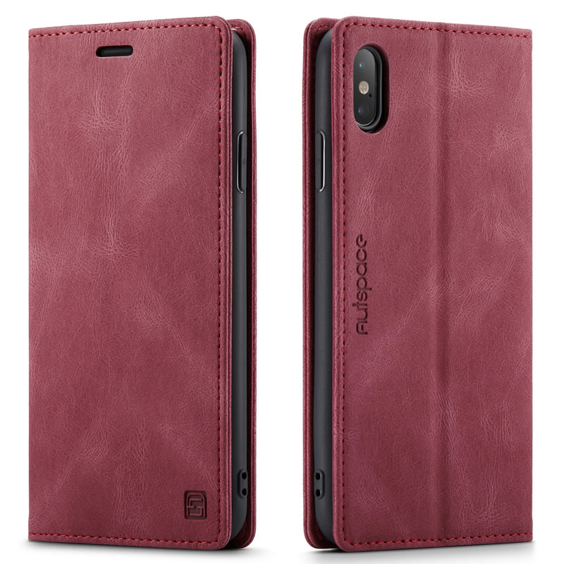 AutSpace iPhone XS Max Leather Wallet Case
