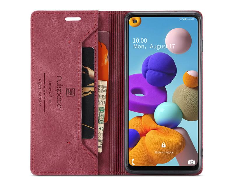 AutSpace Samsung Galaxy A21S Leather Wallet Case