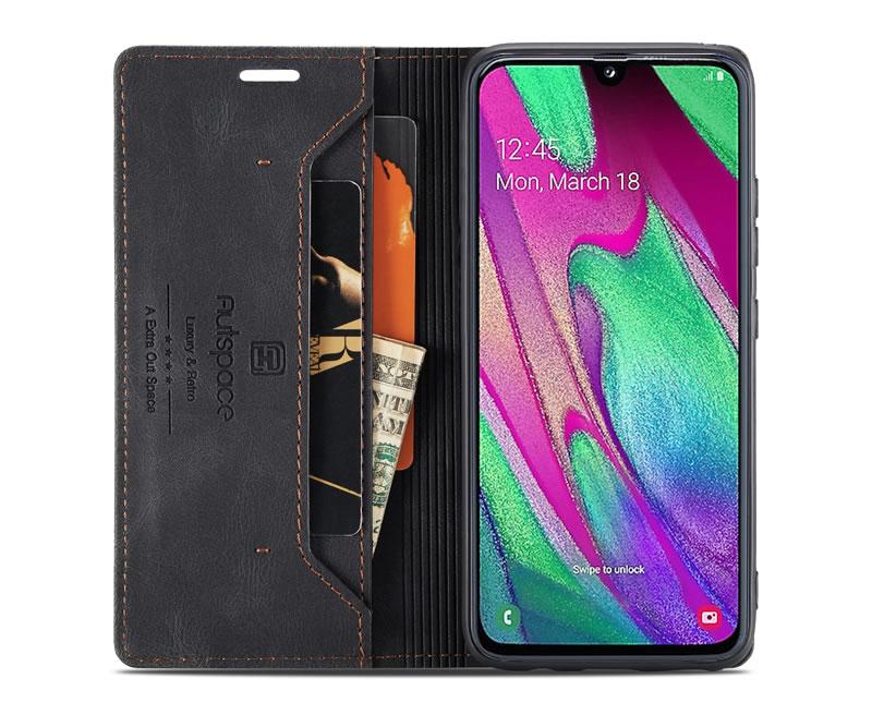 AutSpace Samsung Galaxy A40 Leather Wallet Case