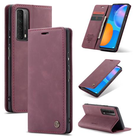 CaseMe Huawei P Smart 2021 Retro Flip Leather Wallet Case Red