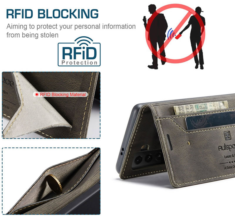 AutSpace Samsung Galaxy S21 Leather Wallet Case