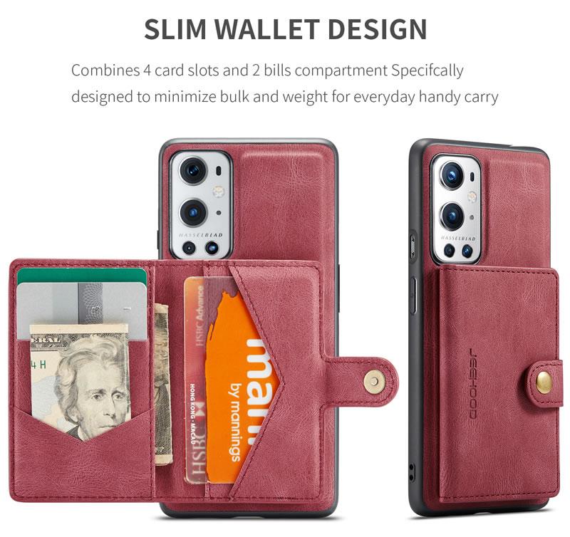 JEEHOOD OnePlus 9 Leather Wallet Case