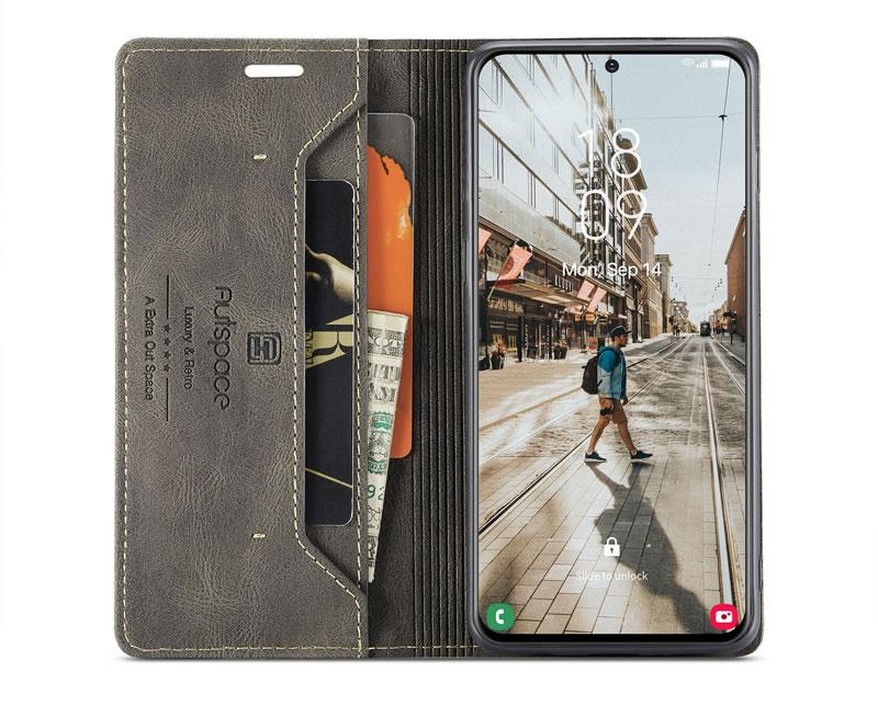 AutSpace Samsung Galaxy S21 FE Leather Wallet Case