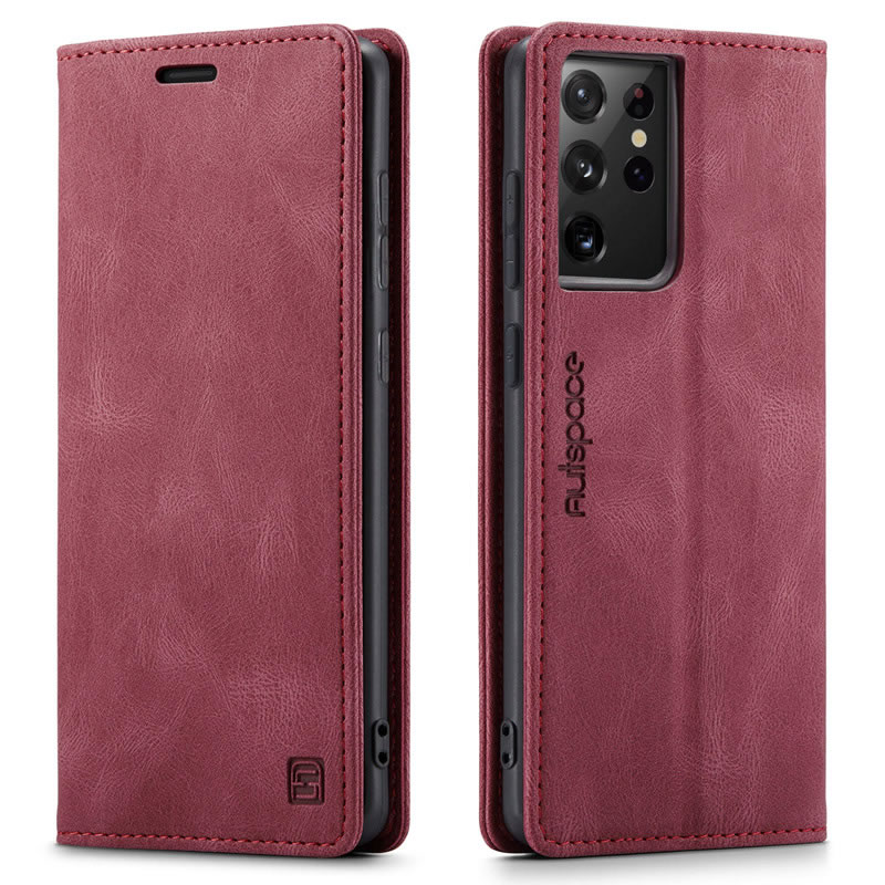AutSpace Samsung Galaxy S21 Ultra Leather Wallet Case