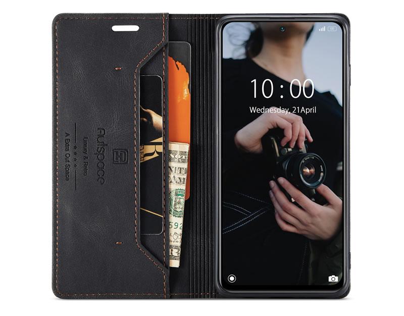 AutSpace Xiaomi Redmi Note 10 4G Leather Wallet Case