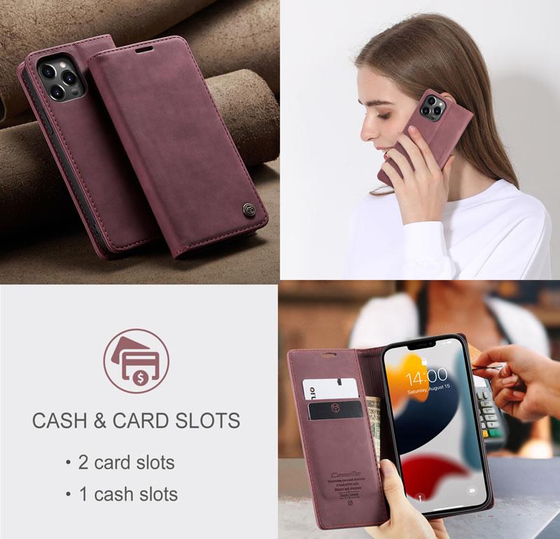 CaseMe iPhone 13 Pro Max Leather Wallet Case