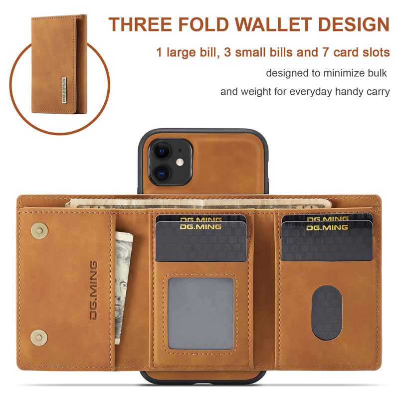 DG.MING iPhone 11 Leather Wallet Case