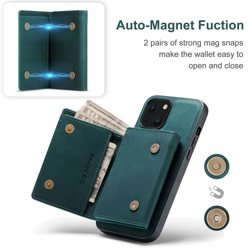 DG.MING iPhone 13 Leather Wallet Case