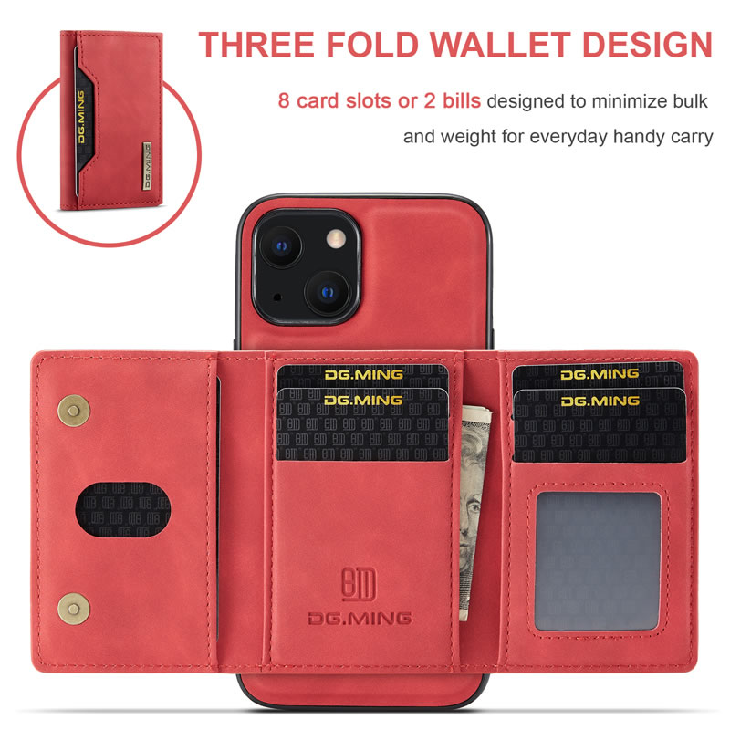 DG.MING iPhone 13 Mini Leather Wallet Case