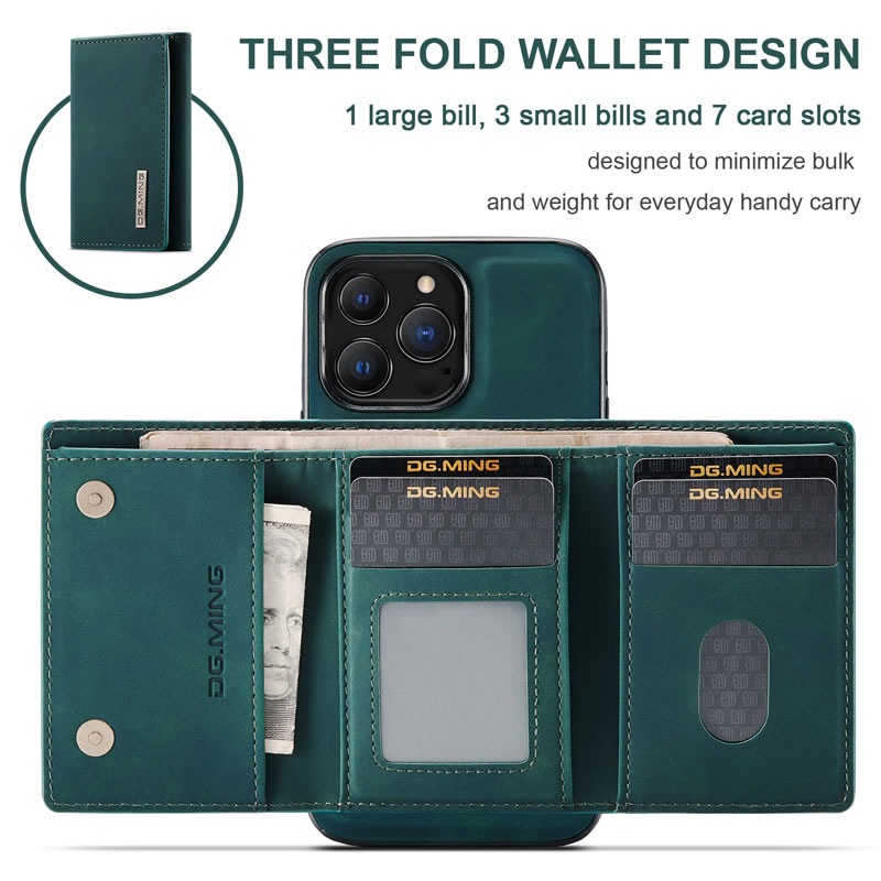 DG.MING iPhone 13 Pro Max Leather Wallet Case
