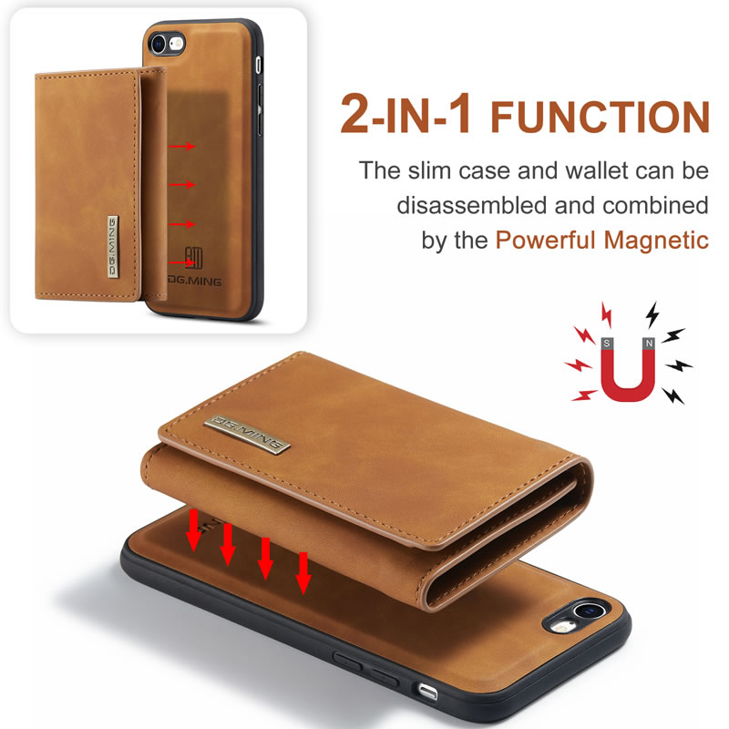 DG.MING iPhone 8 Leather Wallet Case