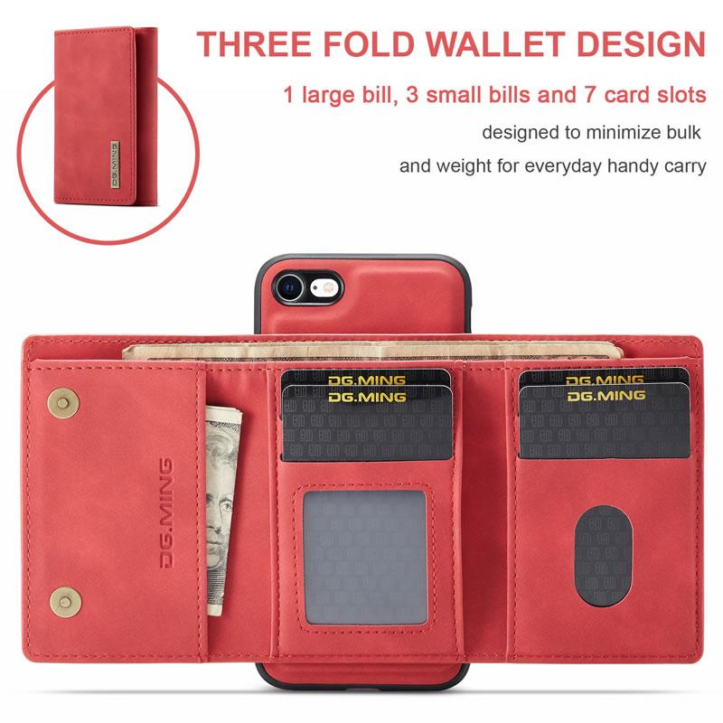 DG.MING iPhone SE 2020 Leather Wallet Case