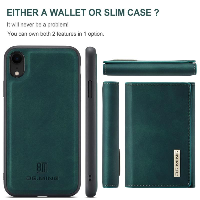 DG.MING iPhone XR Leather Wallet Case