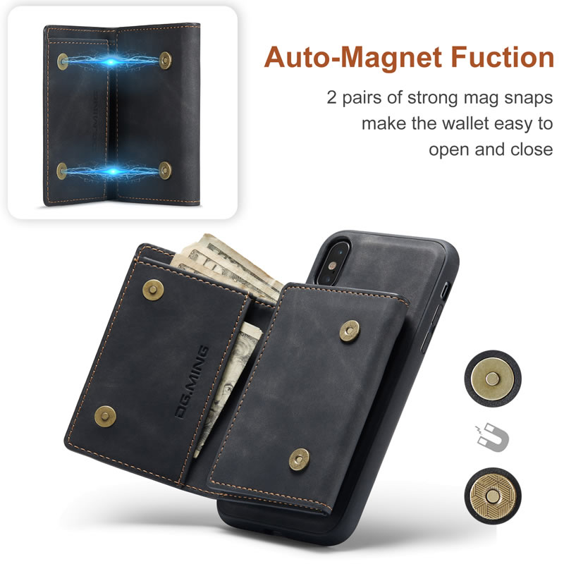 DG.MING iPhone XS Leather Wallet Case