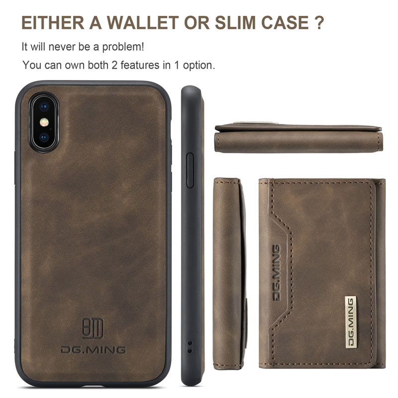 DG.MING iPhone X Leather Wallet Case
