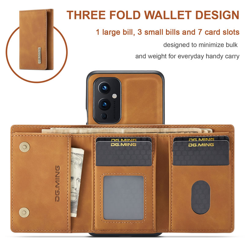 DG.MING OnePlus 9 Leather Wallet Case