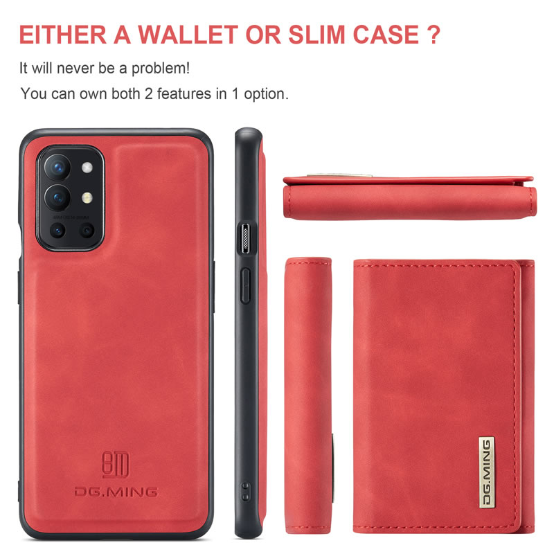 DG.MING OnePlus 9R Leather Wallet Case