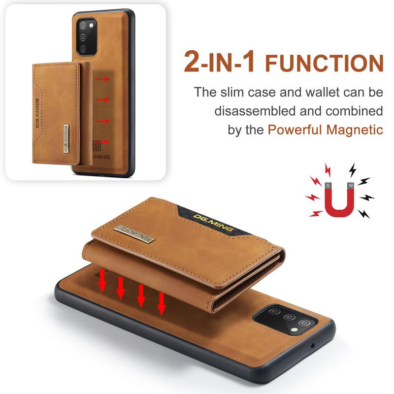 DG.MING Samsung Galaxy M02S Leather Wallet Case
