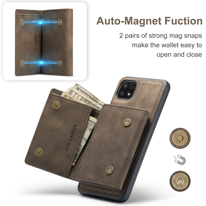 DG.MING Samsung Galaxy A22 5G Leather Wallet Case