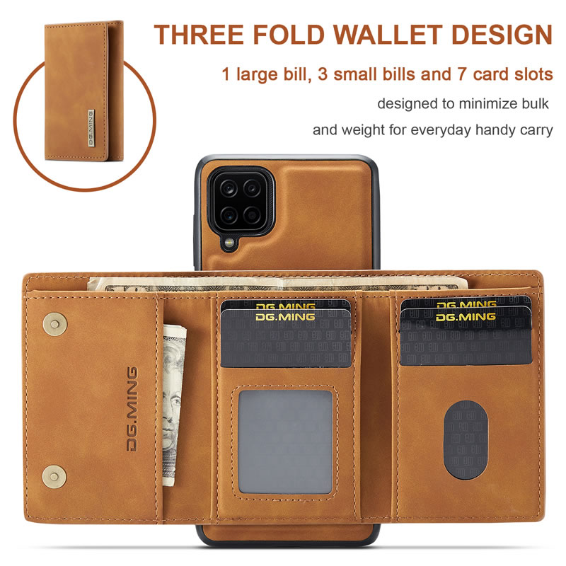 DG.MING Samsung Galaxy A12 5G Leather Wallet Case