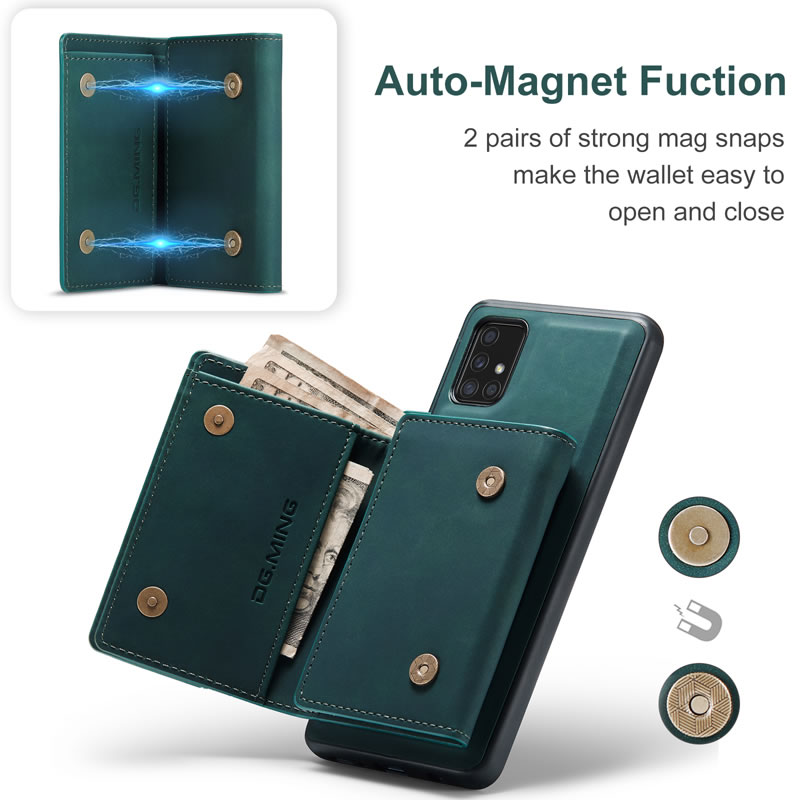 DG.MING Samsung Galaxy A71 Leather Wallet Case