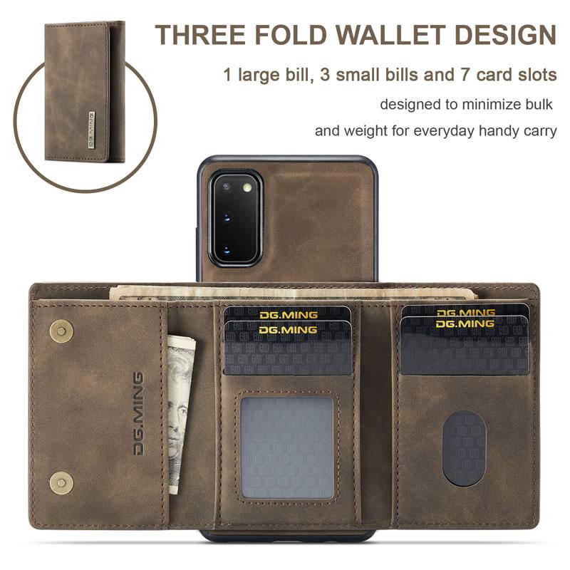 DG.MING Samsung Galaxy S20 Plus Leather Wallet Case