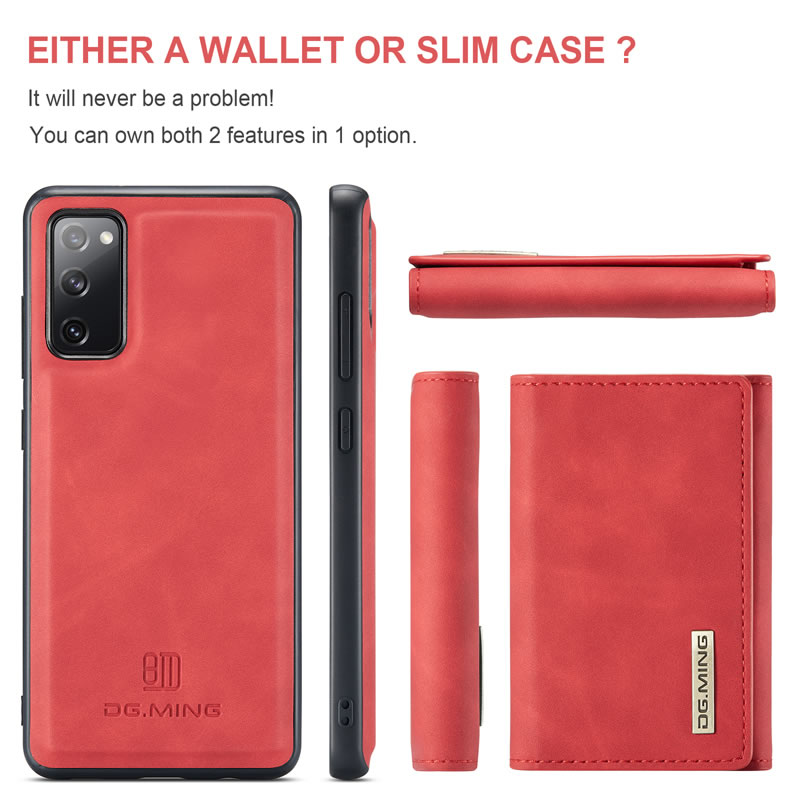 DG.MING Samsung Galaxy S20 FE Leather Wallet Case