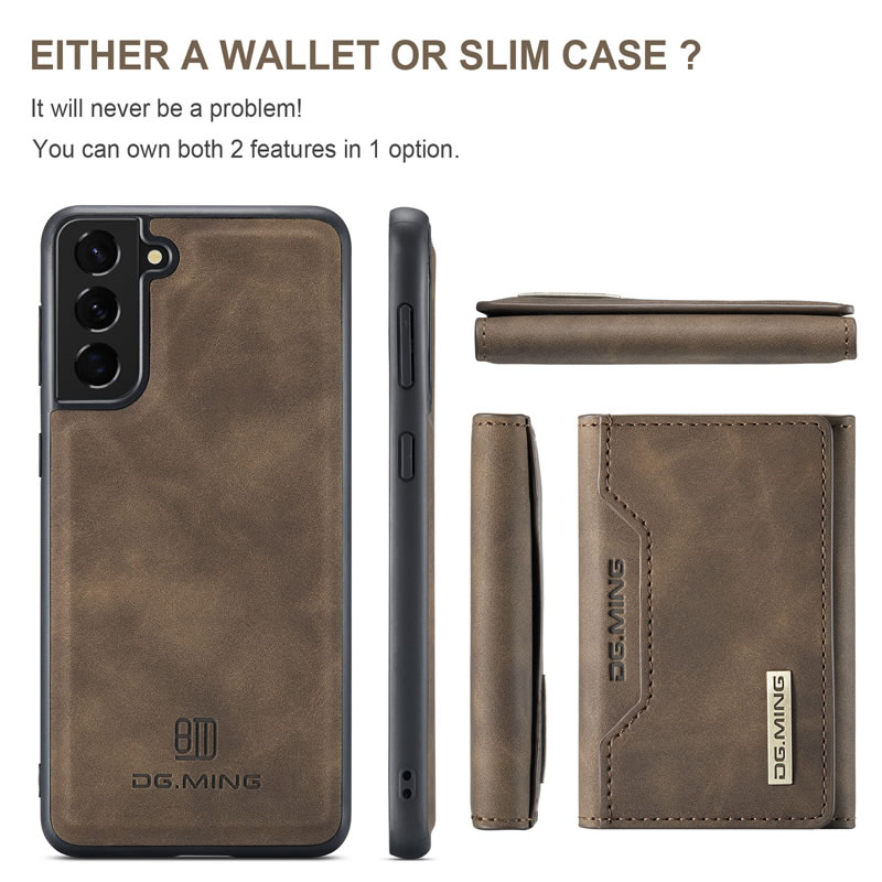 DG.MING Samsung Galaxy S21 FE Leather Wallet Case