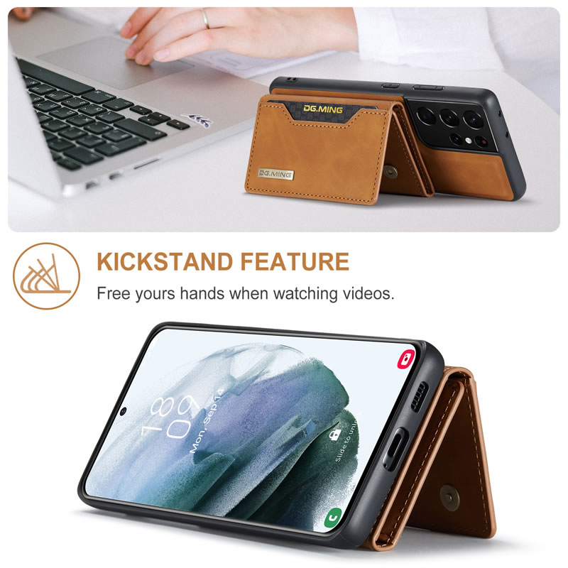 DG.MING Samsung Galaxy S21 Ultra Leather Wallet Case