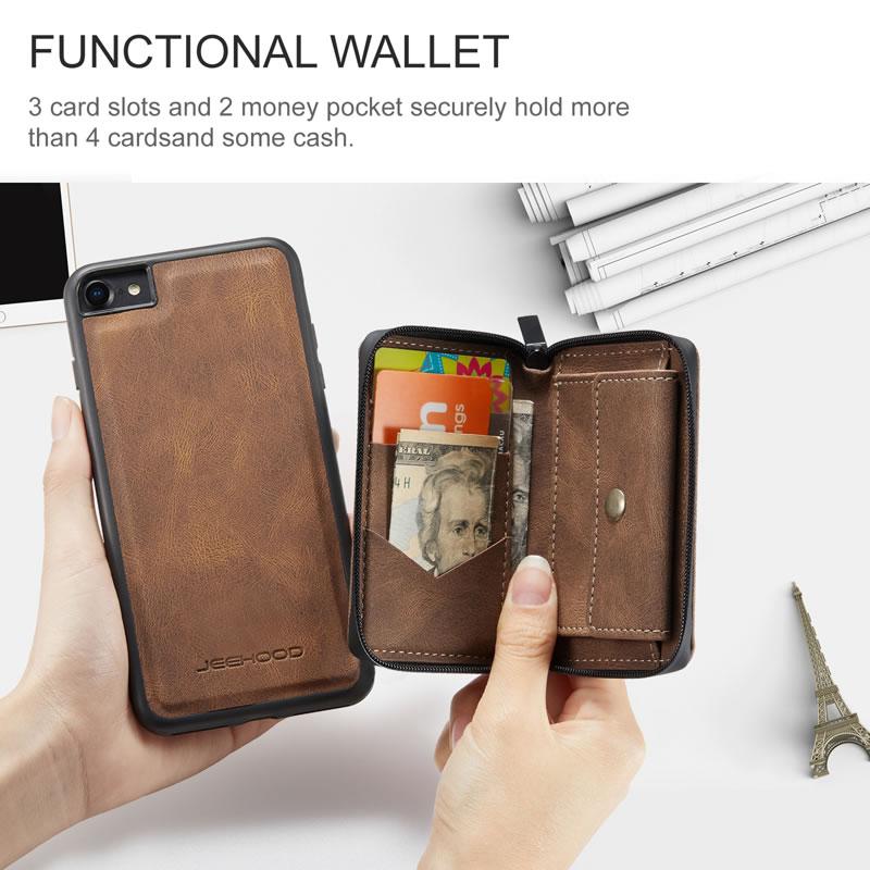 JEEHOOD iPhone SE 2020 Leather Wallet Case