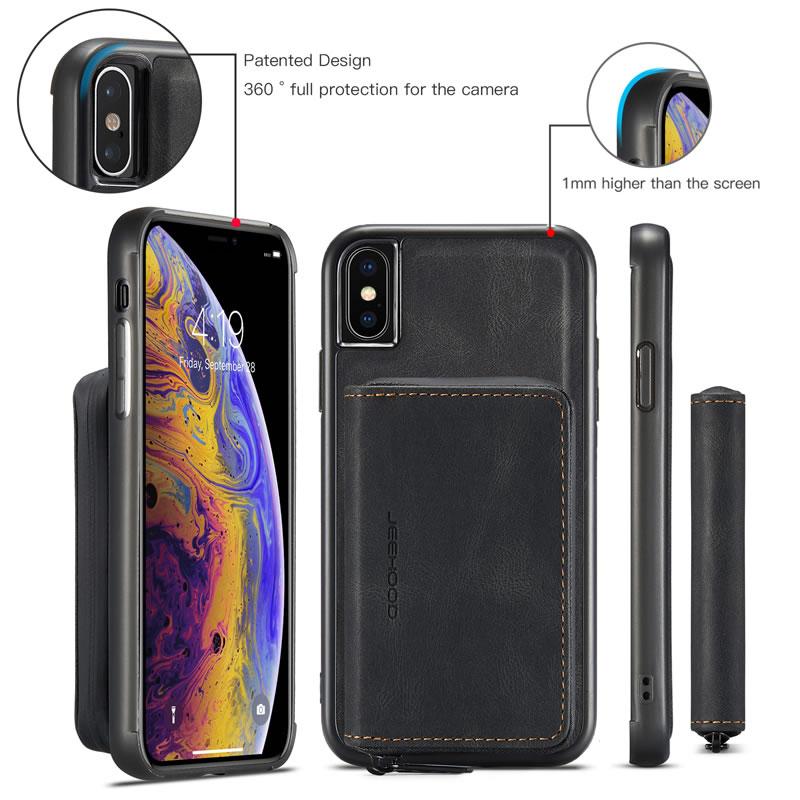JEEHOOD iPhone XS Leather Wallet Case