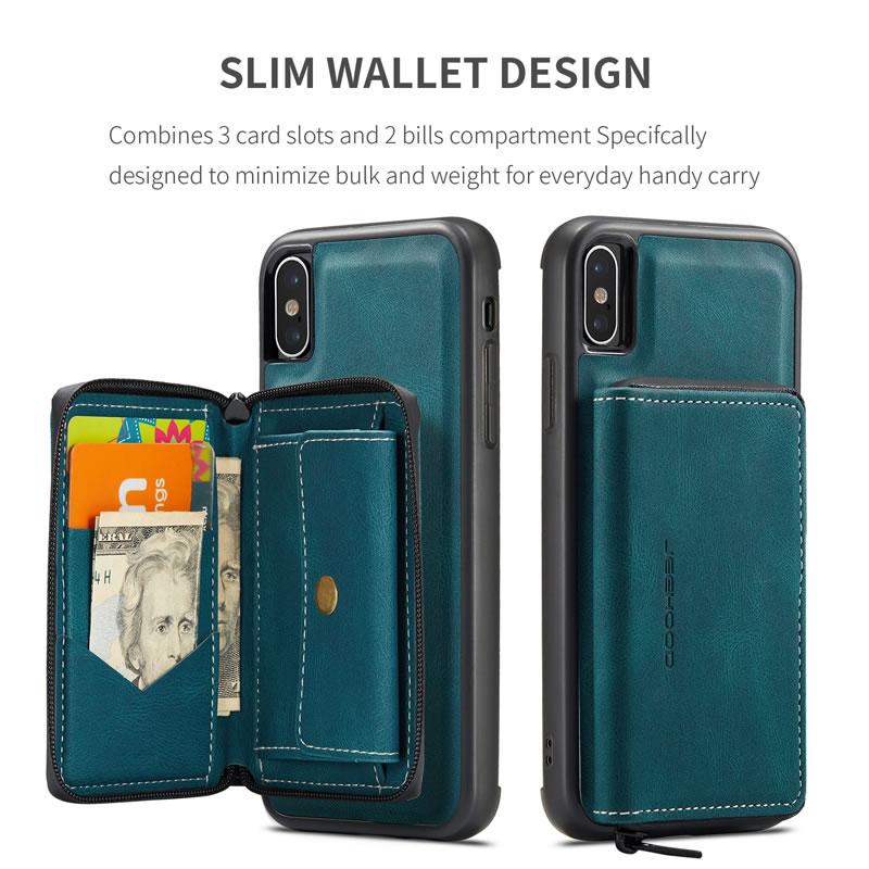 JEEHOOD iPhone XR Leather Wallet Case
