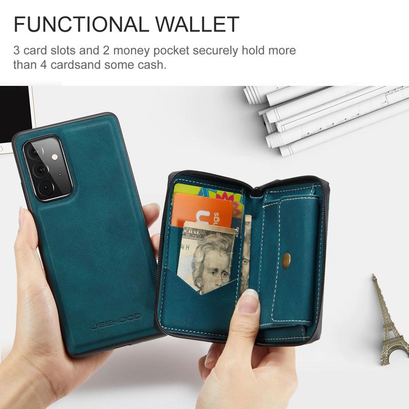 JEEHOOD Samsung Galaxy A72 5G Leather Wallet Case