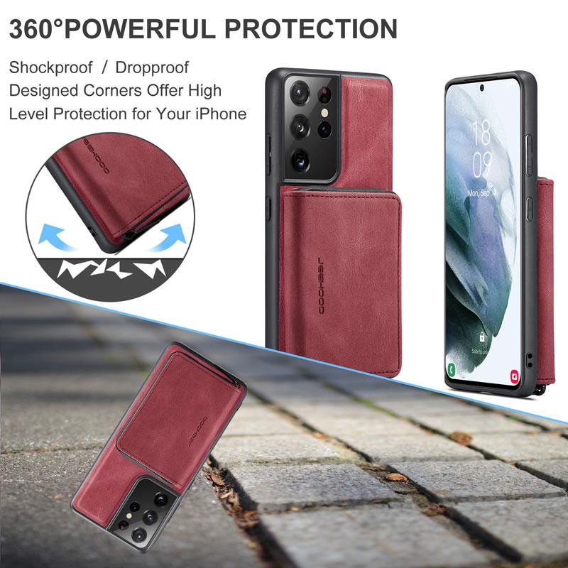 JEEHOOD Samsung Galaxy S21 Ultra Leather Wallet Case